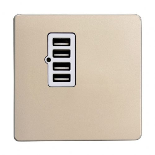 Varilight XDNU4WS Screwless Satin Chrome 4 Gang 5V DC 4800mA USB Charging Port (Single Plate)